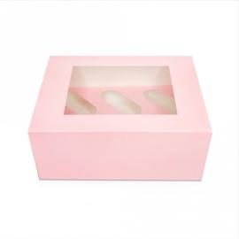 Pastel roze / pink kleurig Cupcake doosje / sweetbox  6 cupcakes