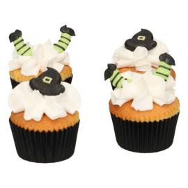 Heksen hoedjes en benen - Halloween -suikerdecoraties- Funcakes