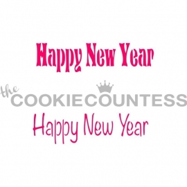 Happy New Year Stencil Cookie Countess