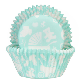 6163 HOM baking cups New Born mint groen  50/ pk