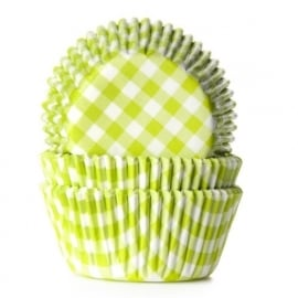 015080 House of Marie Baking Cups gingham Lime 50/Pk