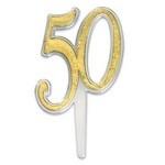 Cupcake / Taart Topper 50 Goud 3/Pk