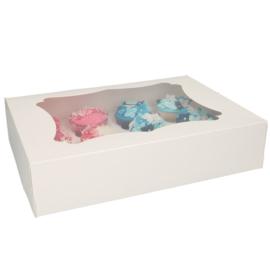 Cupcakedoos met venster voor 12 cupcakes