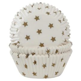 HOM Baking cups wit met gouden sterren 50/pk