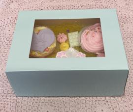 Pastel  mint kleurig Cupcake doosje / sweetbox  6 cupcakes