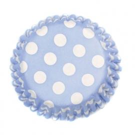 030015 Baby Blauwe met Witte Stippen house of Marie Cupcake Cups 50/Pk