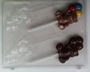 Chocolade lollie mal Beer met 3 Balonnen