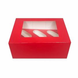 Rood Cupcake doosje / sweetbox met losse insert voor 6 cupcakes