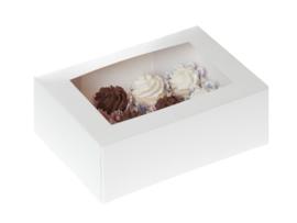 cupcake doosje voor 12 MINI Cupcakes-wit- House of Marie