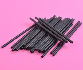 Zwarte lolliestokjes 15 cm lang 25 stuks