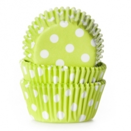 015058 MINI Baking Cups Lime Polka Dots House of Marie 60/pk