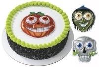 023025 Halloween Taarttoppers Skelet, Pompoen en Heks