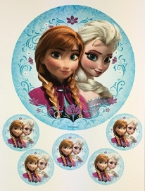 Frozen eetbare print rond 18 cm en 5 cupcake toppers