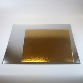 20 cm vierkante Taartkartons Goud/Zilver  3/pk