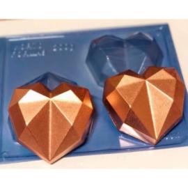 BWB mold - Diamond Heart L 3 delige chocolade mal