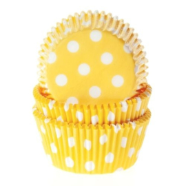 Gele & witte dots Cupcake Baking Cups House of Marie Baking Cups 50/Pk