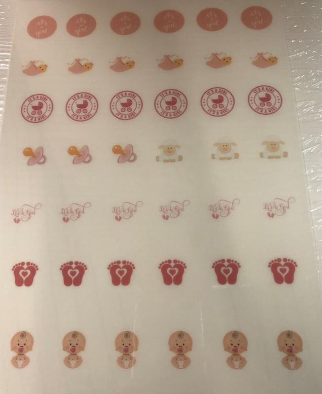 It's A GIRL  Meringue stempel sheet / Sugar stamp