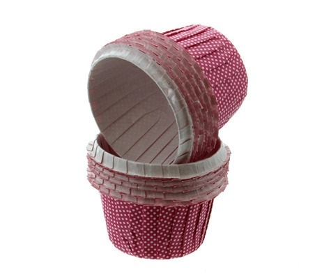 014990 Cake Lace cherry Pink & white dots Greaseproof Baking cases