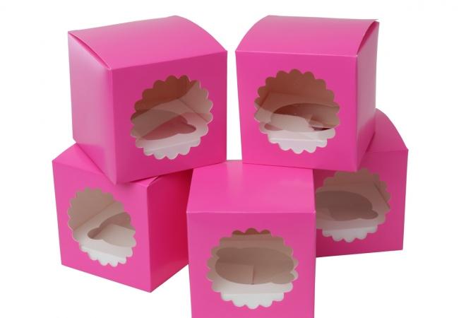 Fuchsia Cupcake doosjes voor 1 cupcake per 5 stuks