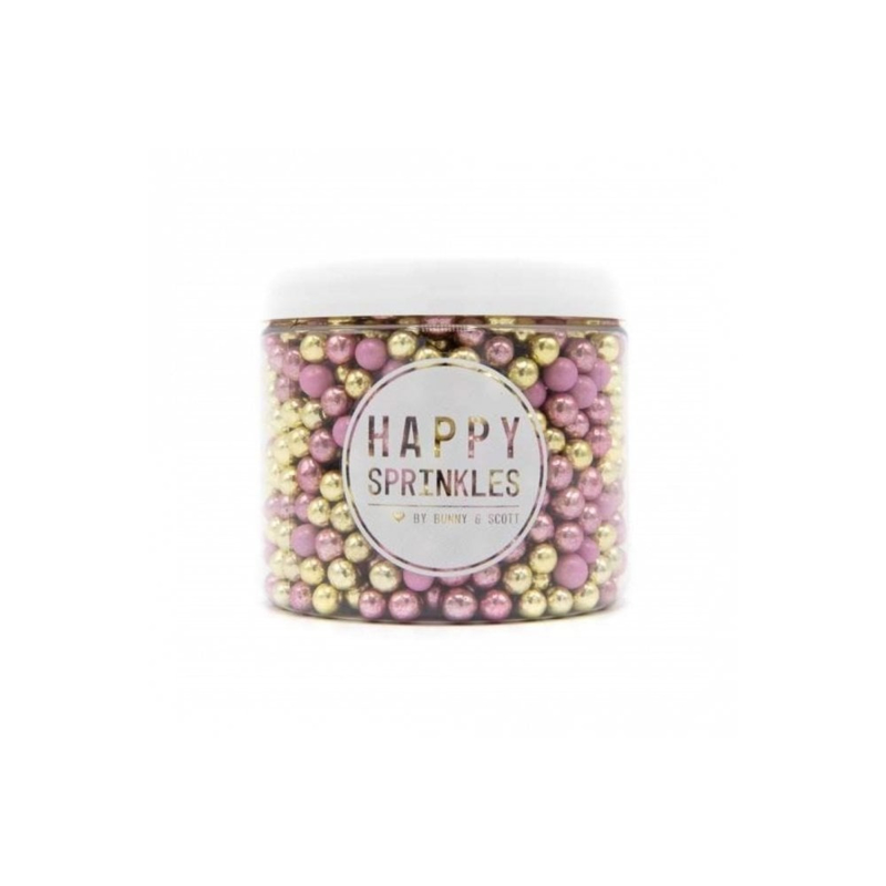 Happy choco pearls GOLD & PINK -chocolade parels - Happy Sprinkles