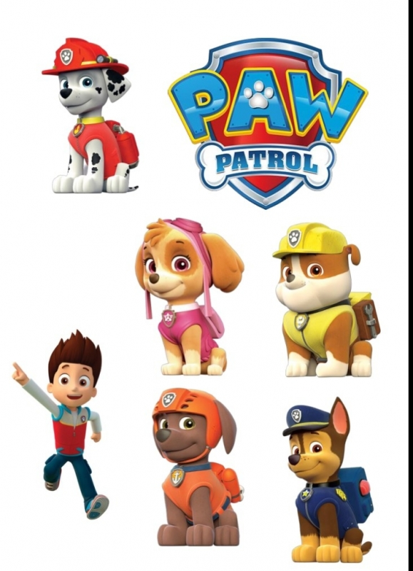 Paw Patrol eetbare print  6 losse plaatjes en logo