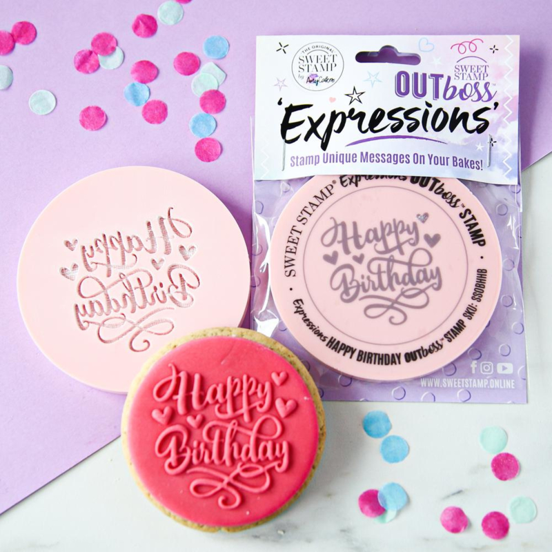 Happy Birthday-HEARTS- Sweetstamp- OUTboss Expressions - koek & cupcake stempel