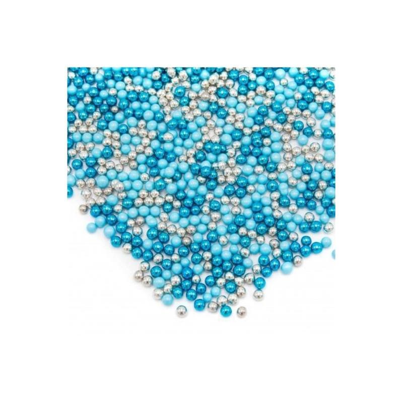 Fancy choco pearls  Zilver en blauwe  -chocolade parels - Happy Sprinkles