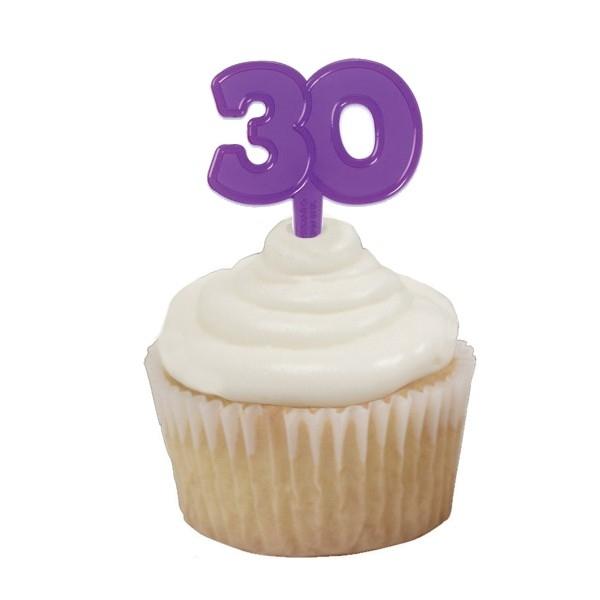 Cupcake Topper 30 Paars 6/Pk
