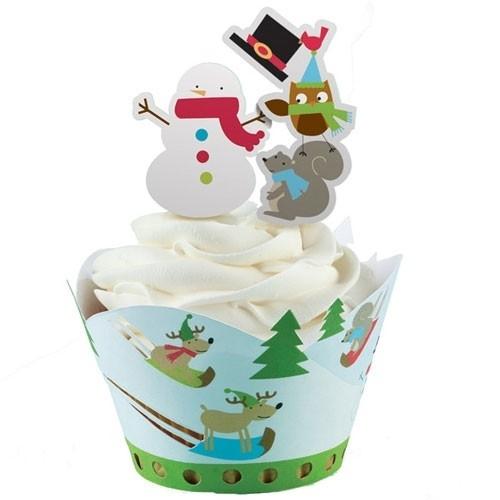 Vrolijke cupcake wrappers incl. sneeuwpop prikkers set van 36