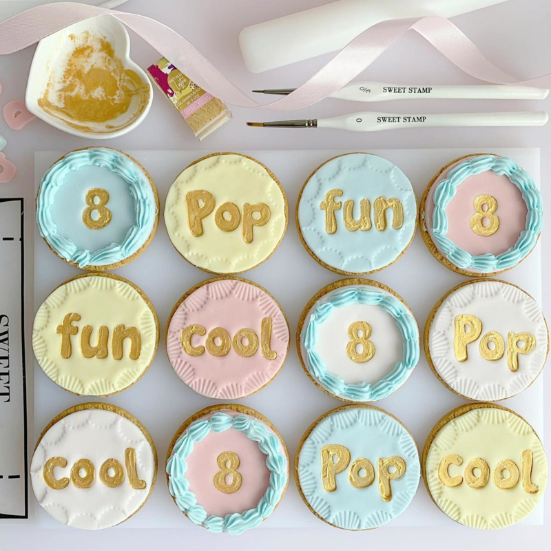 BUBBLE GUM full set en opbergbox Upper & Lowercase Numbers  & Symbols SweetStamp