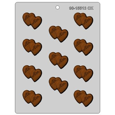 Mr & MRS dubbel hart chocolade mal