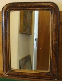 Spiegel 36 x 48 origineel hout lijst Frankrijk oud brocante