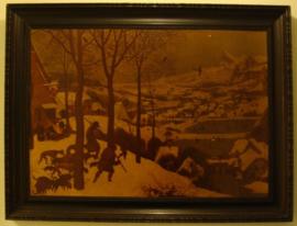 Lijst 100 x 76 origineel 1930 dorp sneeuw