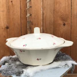 Dekschaal Sarreguemines porcelaine Opaque bloem motief