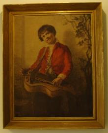Jongen met muziek instrument afbeelding in lijst 61 x 76
