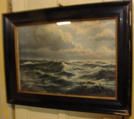 Afbeelding woeste zee in fraaie lijst met glas