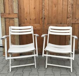 Strand stoelen hout wit latten tuinstoel opklapbaar