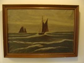Schilderij schepen zee gezicht in lijst