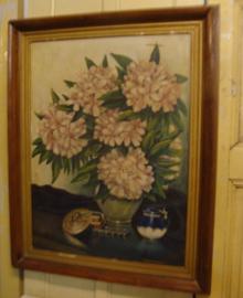 Schilderij bloemen vaas TR. Coolegem 1950