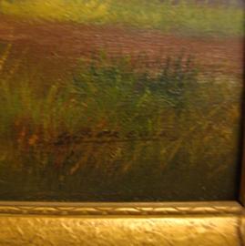 Schilderij boerderij op doek in lijst