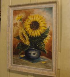 Schilderij Zonnebloemen vaas Hees 1948