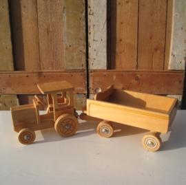Tractor met aanhanger speelgoed hout