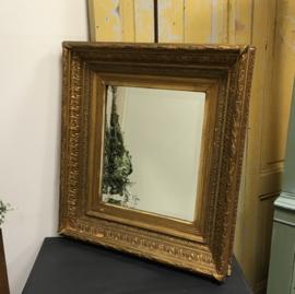 Spiegel facet brons kleur lijst 58,5 x 64 VERKOCHT