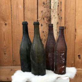 Fles bierfles wijnfles groen bruin glas origineel