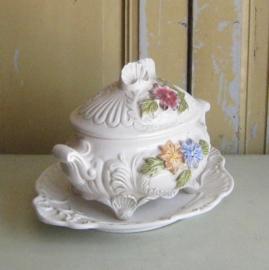 Terrine soep schaal met deksel schaal Italy bloem decoratie