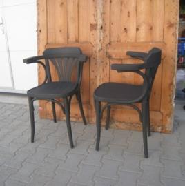 Café stoelen hout brocante grijs met armleuning