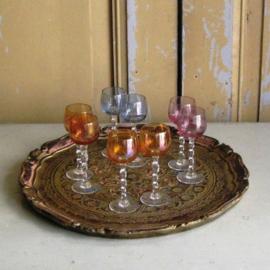 Likeur glaasjes gekleurd glas kristal 10,5 cm hoog