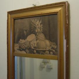 Spiegel origineel 35 x 70 fraaie lijst hout circa 1930