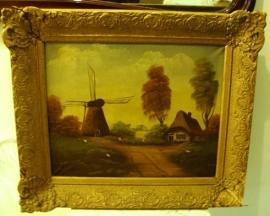 Schilderij molen boerderij lijst barok