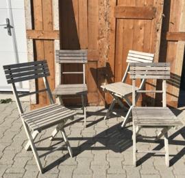 Klapstoel hout bistro stoel opklap brocante grijs